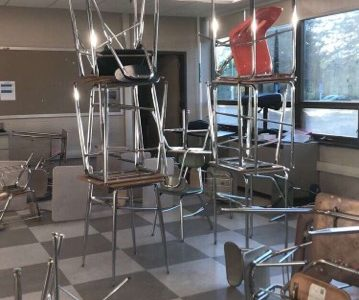 Desks piled on top of one another was just another example of the senior pranks.