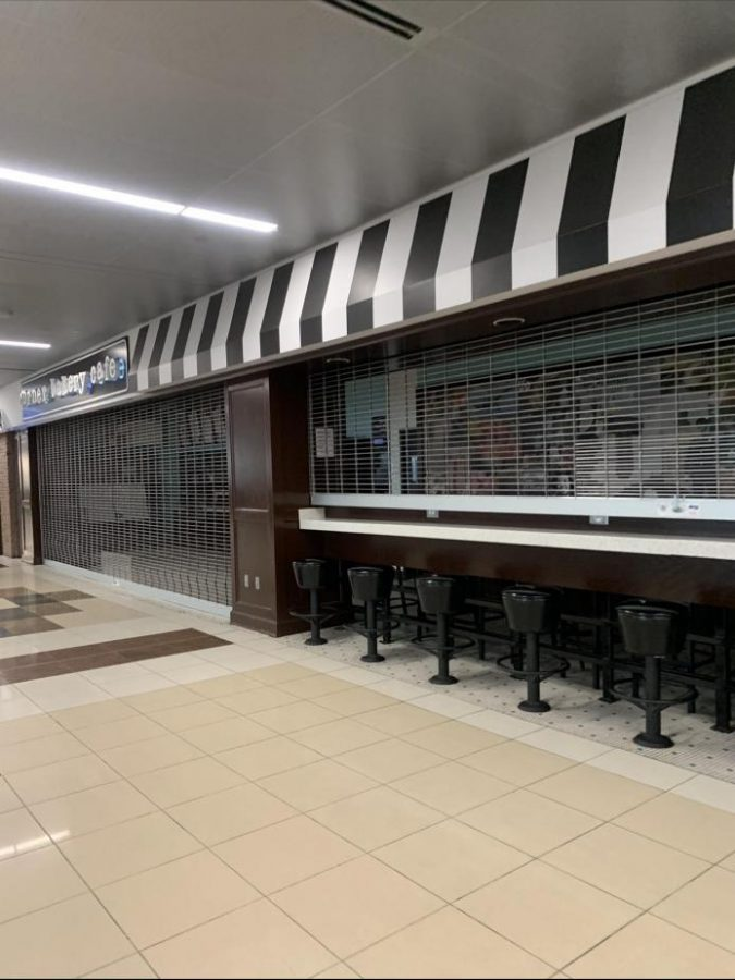 Closed stores in Atlanta terminal.